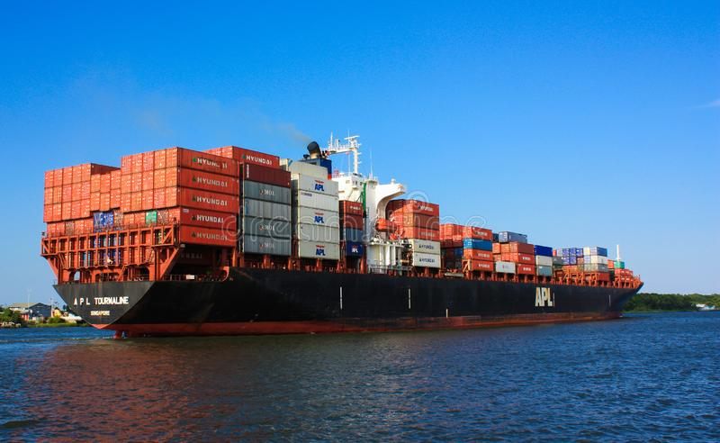 A Fully Loaded Cargo Ship stock images