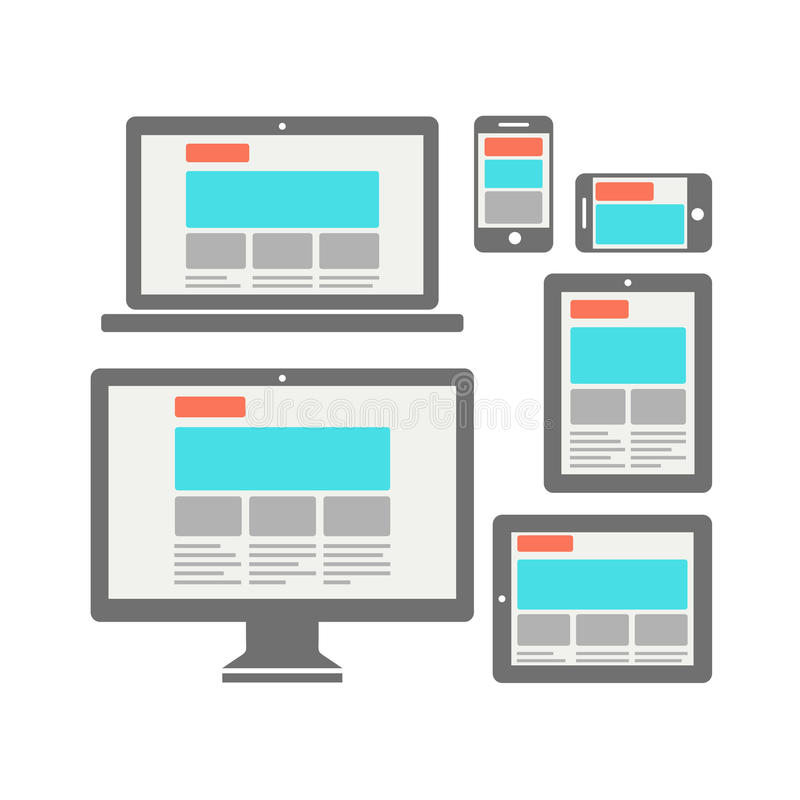 Fully responsive web design royalty free illustration