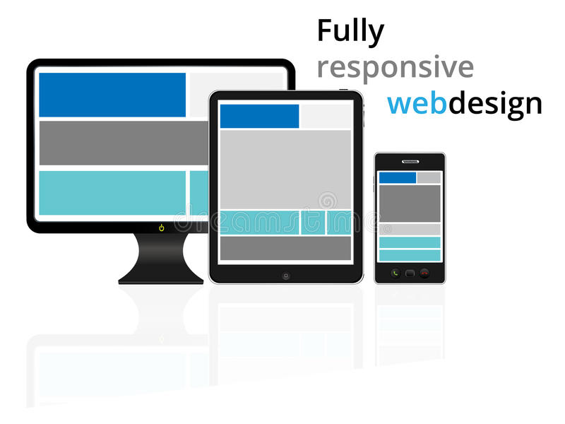 Fully responsive web design in electronic devices stock illustration
