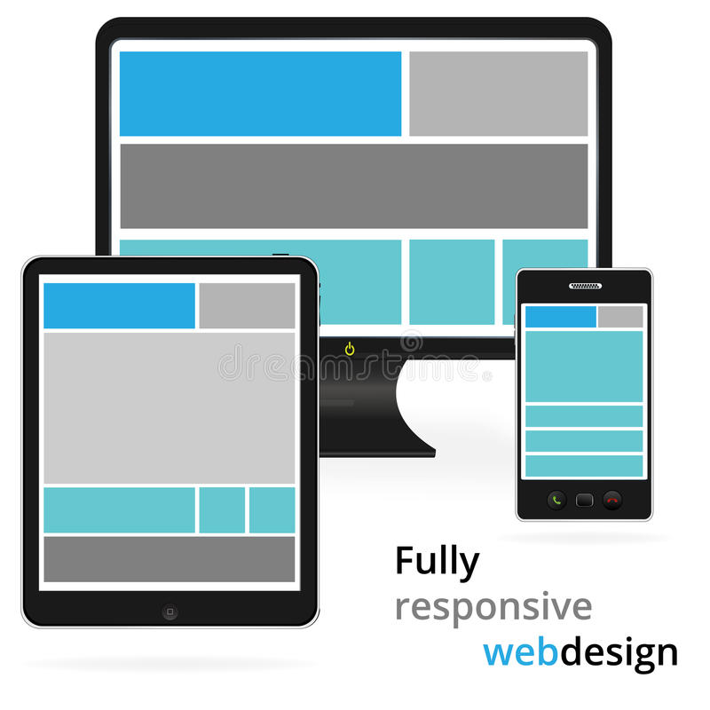 Fully responsive web design in electronic devices.  vector illustration