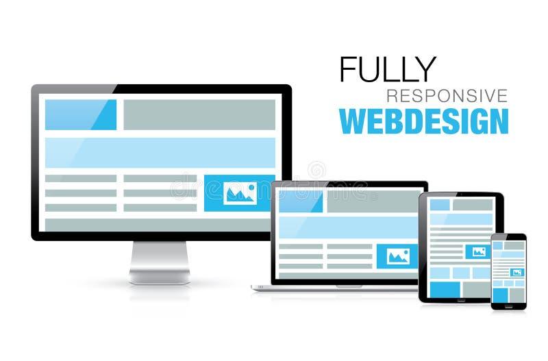 Fully responsive web design in modern realistic el stock illustration