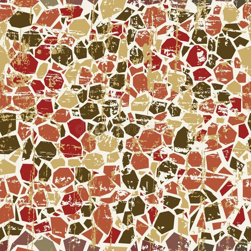 Fully seamless repeat abstract mosaic pattern background colored in earthy tones and a worn texture effect. For fa royalty free illustration