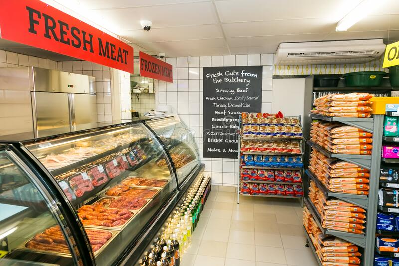 Fully stocked butchery and deli section at local Pick n Pay grocery store. Johannesburg, South Africa - November 22, 2016: Fully stocked butchery and deli royalty free stock image