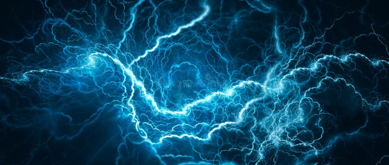 Fulmine d'ardore blu illustrazione di stock