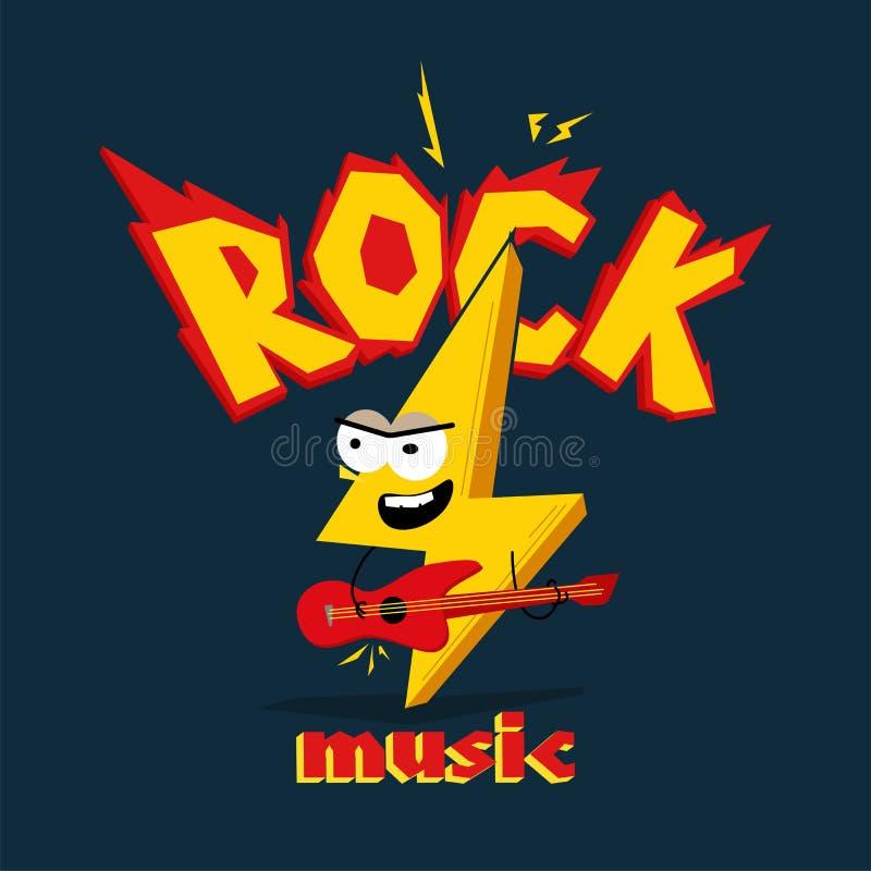 Fulmine del fumetto che gioca sulla chitarra ` di musica rock del ` di titolo illustrazione di stock