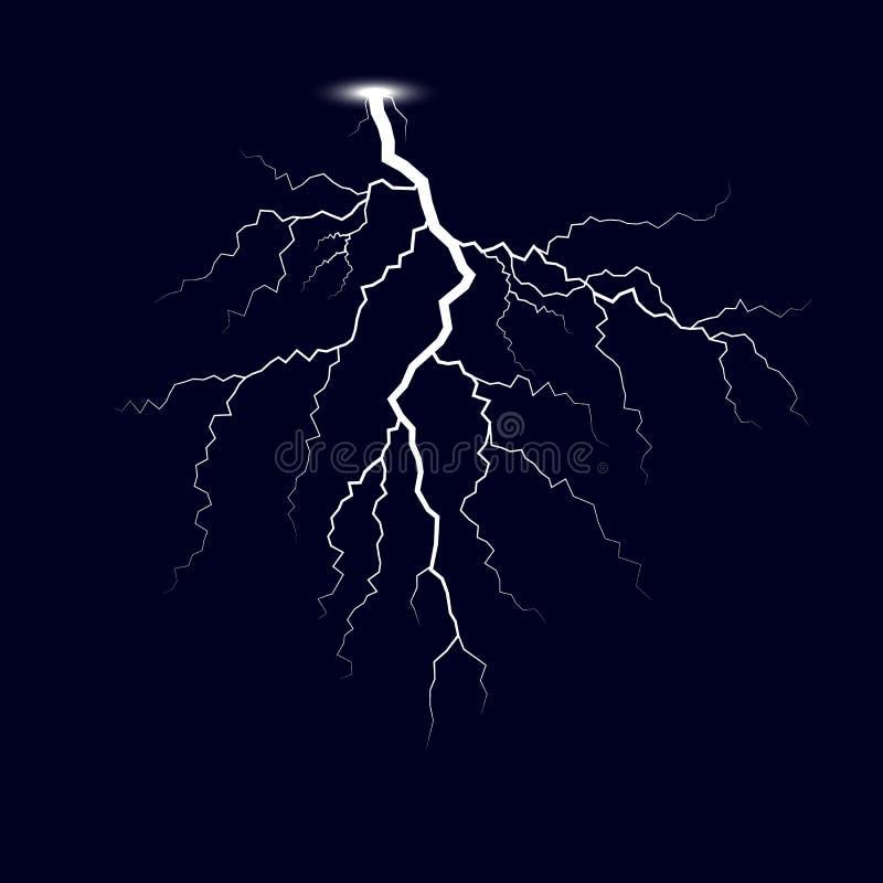 Fulmine Fulmini di temporale Illustrazione di vettore isolata su fondo scuro royalty illustrazione gratis