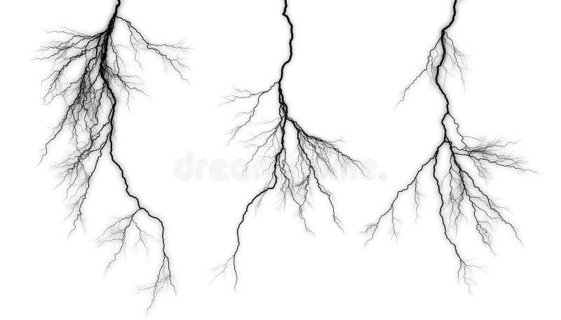 Fulmine nero su un fondo bianco immagine stock