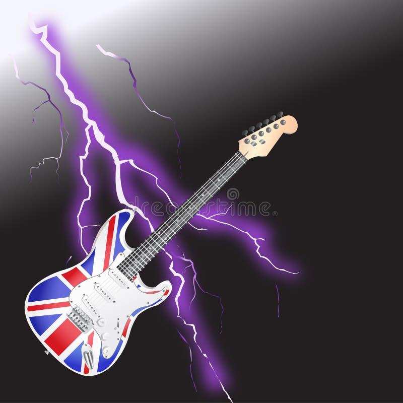 Fulmine realistico della chitarra britannica di rock-and-roll illustrazione di stock