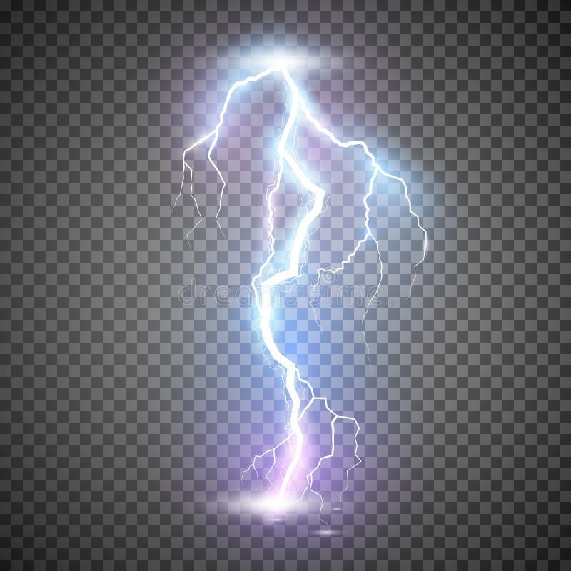 Fulmine Fulmine realistico di temporale Effetti della luce intensa e di magia Illustrazione di vettore isolata su trasparente illustrazione di stock