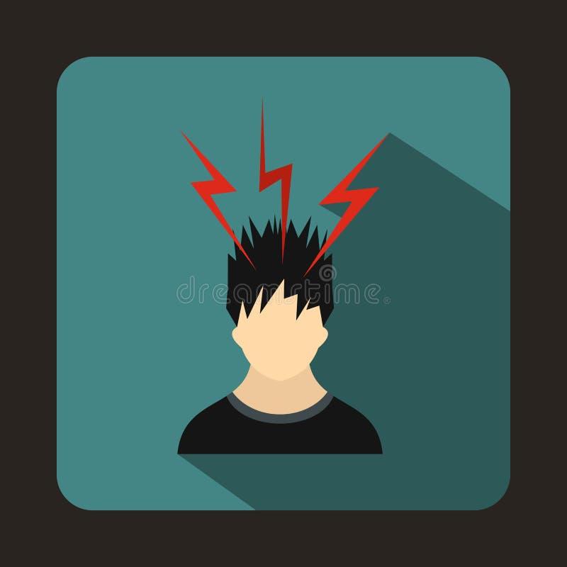 Fulmine sopra la testa dell'icona dell'uomo, stile piano illustrazione vettoriale