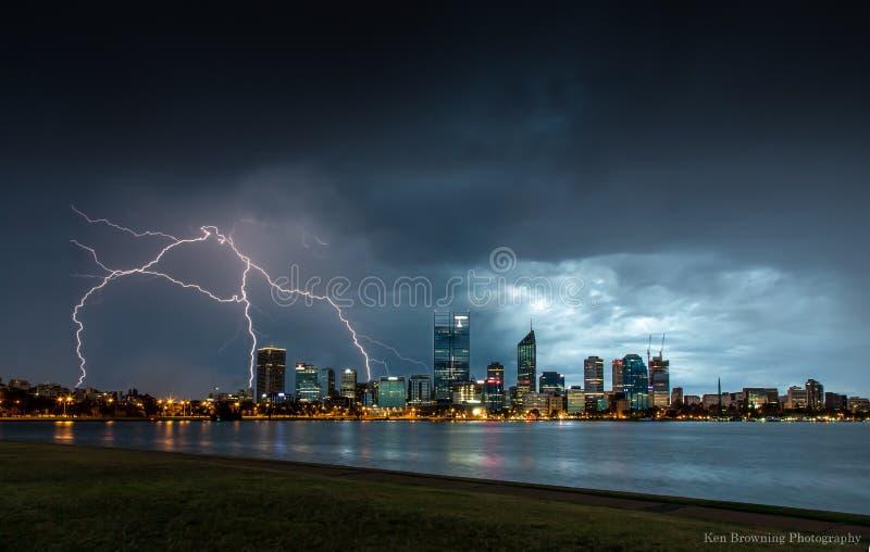 Fulmine sopra Perth fotografia stock