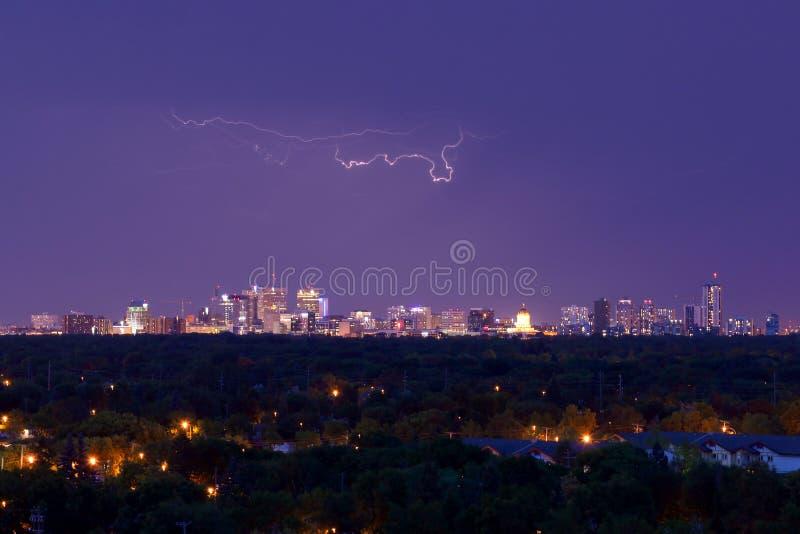 Fulmine in Winnipeg immagine stock