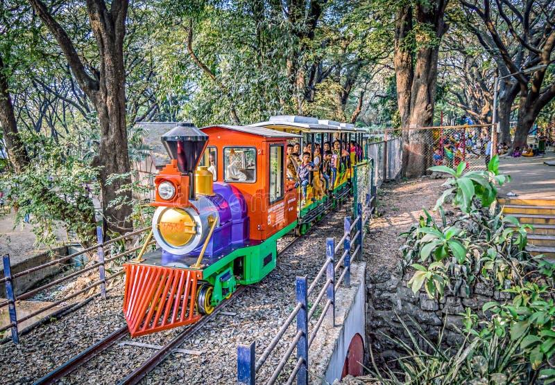 Fulrani zabawkarski pociąg w Peshwe parku fotografia stock