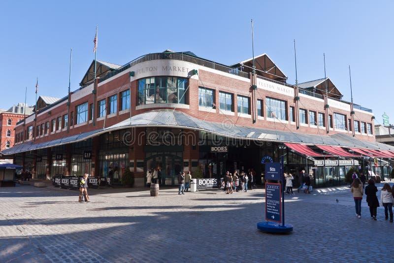 Fulton marknad i New York City arkivbild