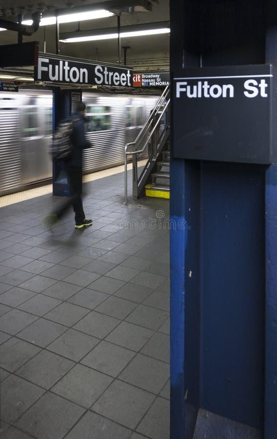 Fulton St Metro Station em New York City imagens de stock royalty free