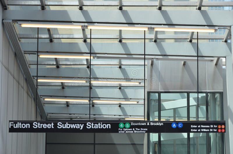 Fulton Street Subway Sign fotografia de stock royalty free
