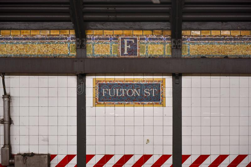Fulton Street Subway Station - Brooklyn, New York arkivfoto