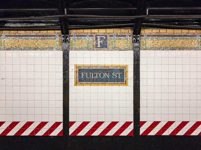 Fulton Street Subway Station - New York City arkivfoton
