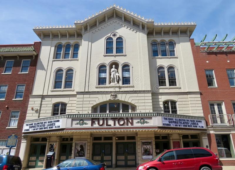 The Fulton Theatre, located in downtown Lancaster, PA. Lancaster, PA, USA - April 23, 2019: The Fulton Theatre, located in downtown Lancaster, is home to live stock image