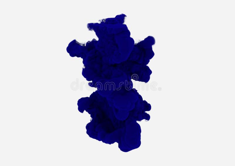 Fumée bleu-foncé sur le fond blanc Tache d'encre se dissoudre dans l'eau Flottement bleu de nuage Élément abstrait de conception illustration stock