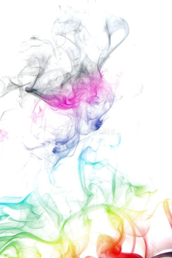 Fumée de couleur d'isolement sur le blanc photos libres de droits