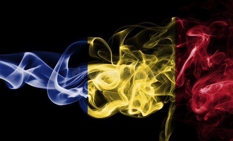 Fumée de drapeau de la Roumanie photo stock