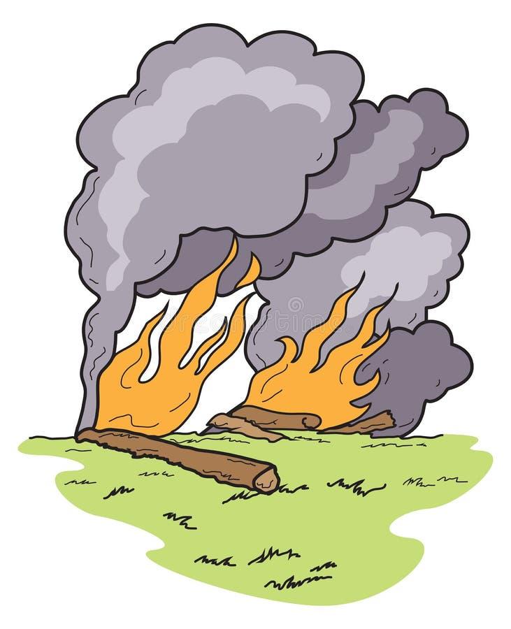 Fumée lourde d'Art Wild Fire Burning Logs de vecteur illustration de vecteur