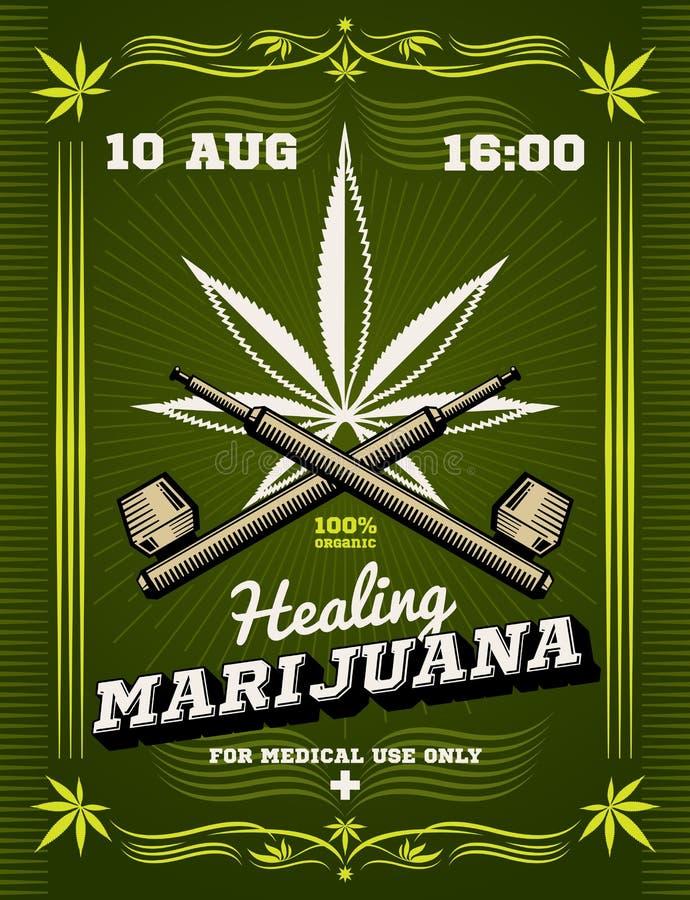 Fumador da marijuana, ervas daninhas, fundo de advertência do vetor da droga ilustração royalty free