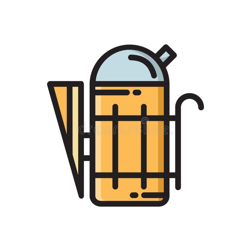 Fumador del apicultor, icono de la herramienta de la apicultura ilustración del vector