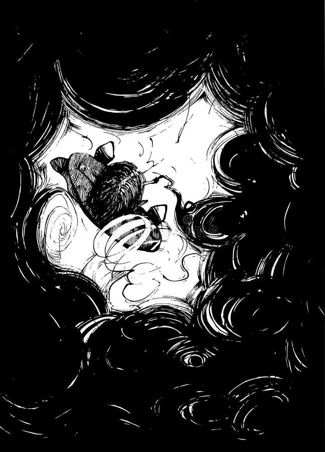 Fumador en humo negro libre illustration