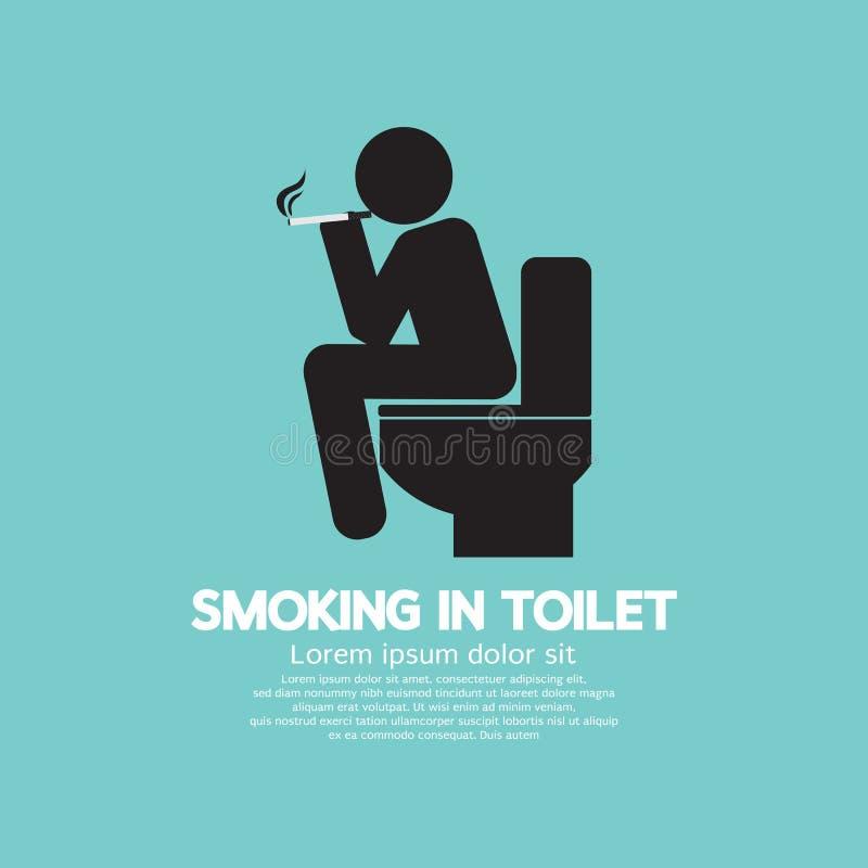 Fumando nel simbolo grafico della toilette illustrazione vettoriale