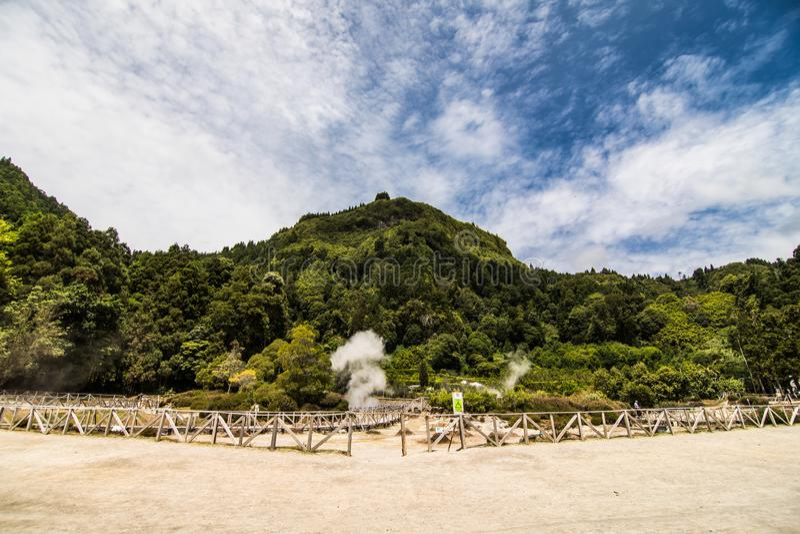 Fumarolas da Lagoa das Furnas in Sao Miguel Island, Azores, Portugal royalty free stock photography