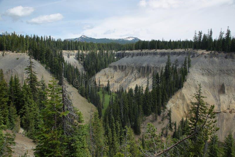 Fumarolas fósseis de Annie Creek no parque nacional do lago crater fotos de stock royalty free