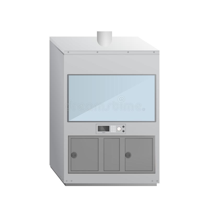 Fume cupboard. Medical laboratory. Equipment for experiments. Vector illustration royalty free illustration