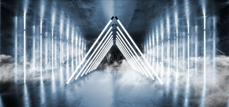 Fume la nave espacial extranjera que brilla intensamente de neón Blue Room vibrante brillante reflexivo oscuro Hall Corridor de S libre illustration