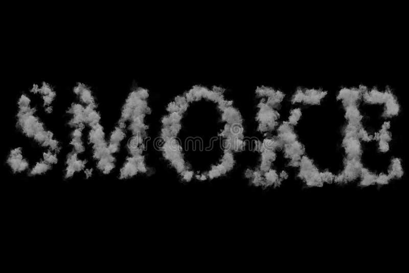 Fume a palavra feita flutuando o vapor do fumo através do espaço no preto imagem de stock