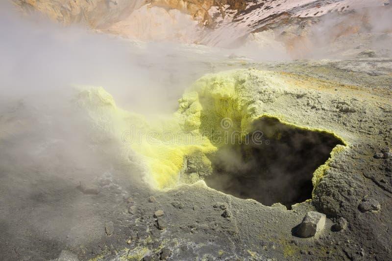 Fumerolle jaune à l'intérieur de cratère de volcan de Mutnovsky photo libre de droits