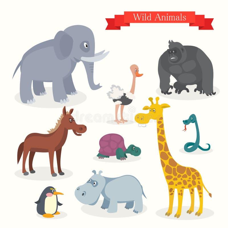 Fumetti animali, safari, natura selvaggia illustrazione di stock