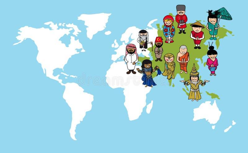 Fumetti asiatici della gente, illustr di diversità della mappa di mondo illustrazione di stock