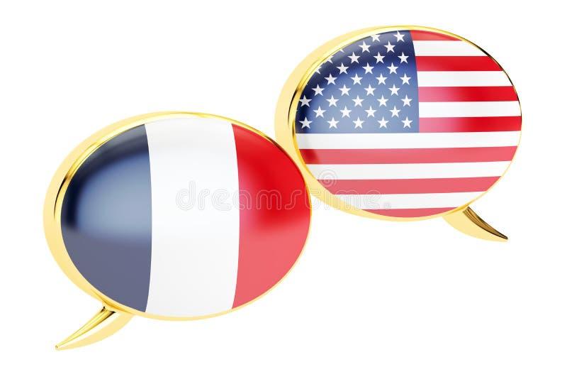 Fumetti, concetto di conversazione di Francia-U.S.A. rappresentazione 3d illustrazione di stock