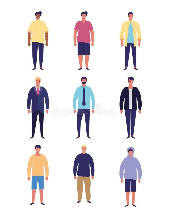 Fumetti della gente degli uomini illustrazione vettoriale