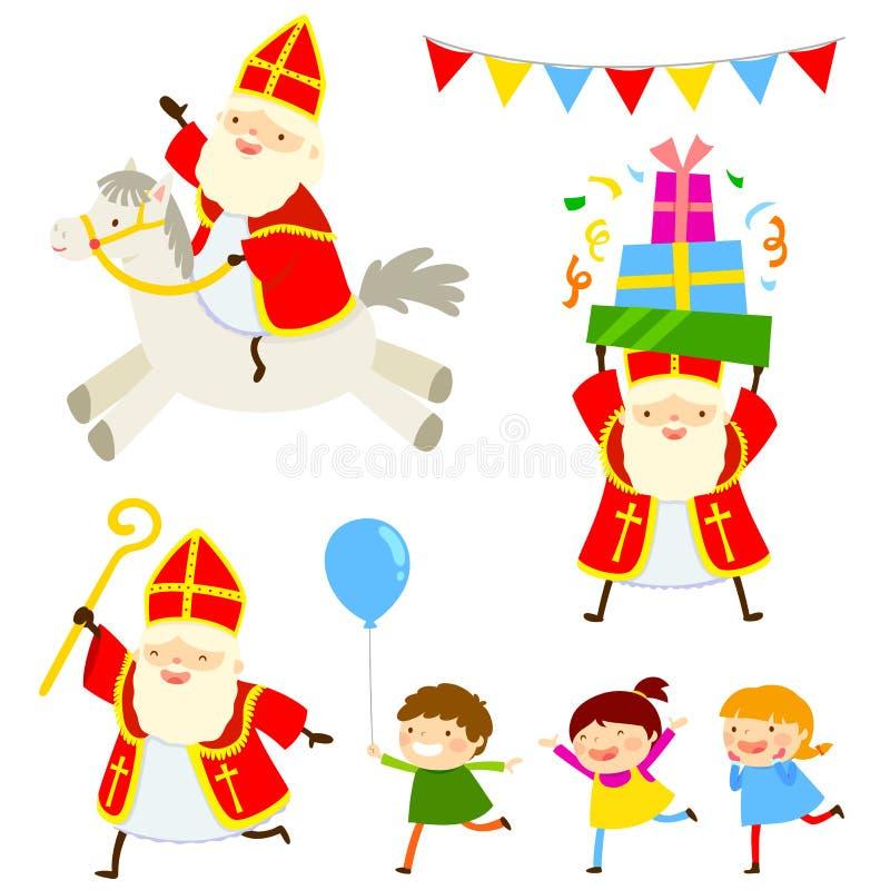 Fumetti di Sinterklaas messi illustrazione vettoriale