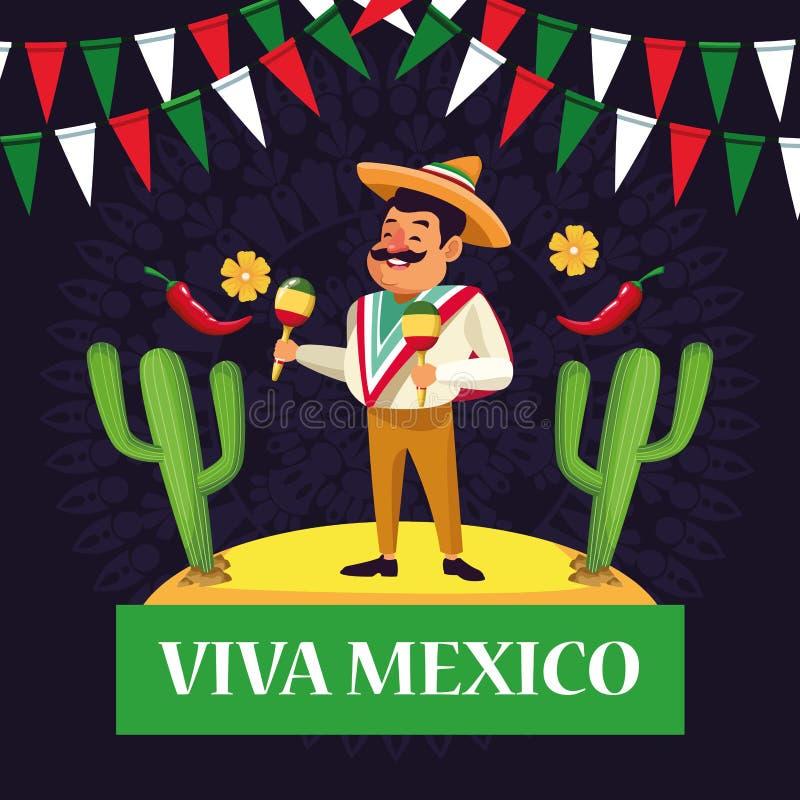 Fumetti di Viva Messico illustrazione di stock