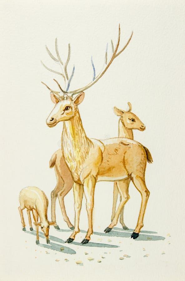 Fumetto adorabile dell'illustrazione della pittura dell'acquerello della famiglia dei cervi illustrazione vettoriale