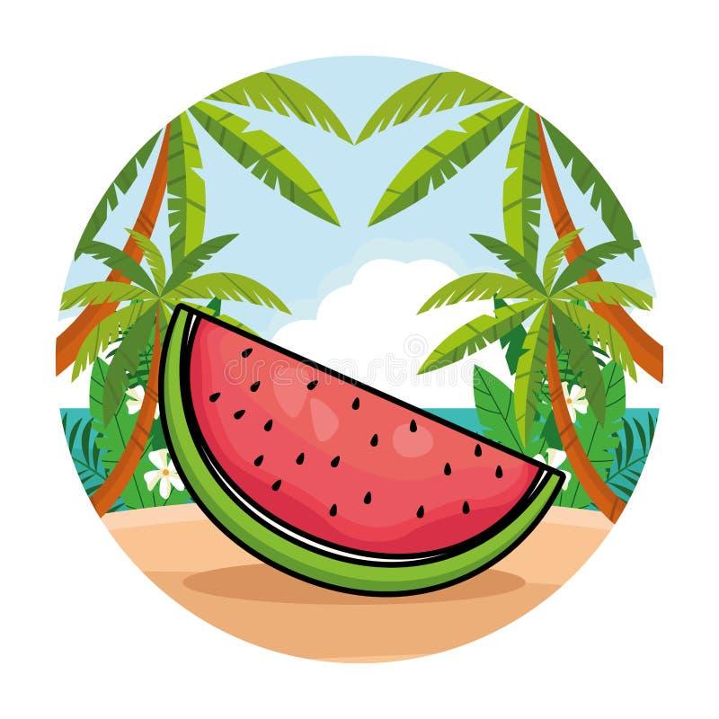 Fumetto affettato della frutta fresca dell'anguria royalty illustrazione gratis