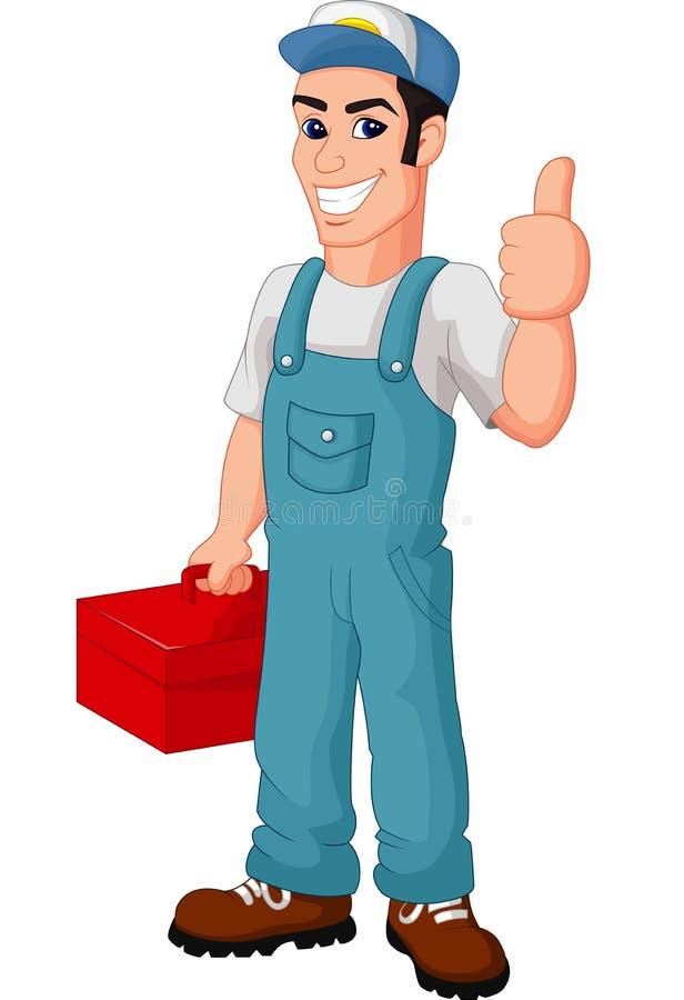 Fumetto amichevole del meccanico con la cassetta portautensili che dà i pollici su illustrazione di stock