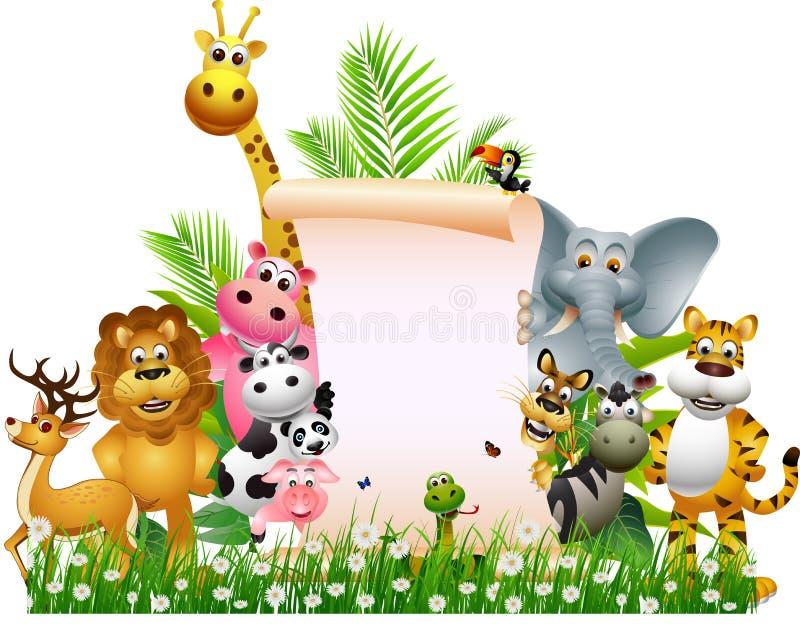 Fumetto animale con il segno in bianco royalty illustrazione gratis