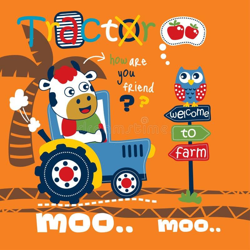 Fumetto animale divertente del trattore e della mucca, illustrazione di vettore illustrazione di stock