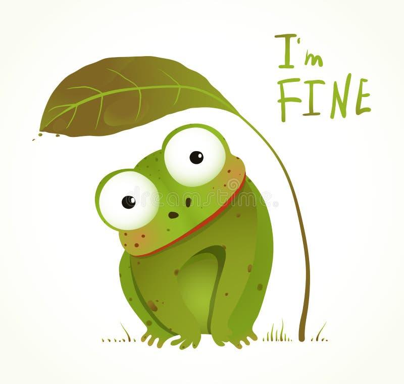 Fumetto animale puerile di divertimento della rana verde del bambino illustrazione vettoriale