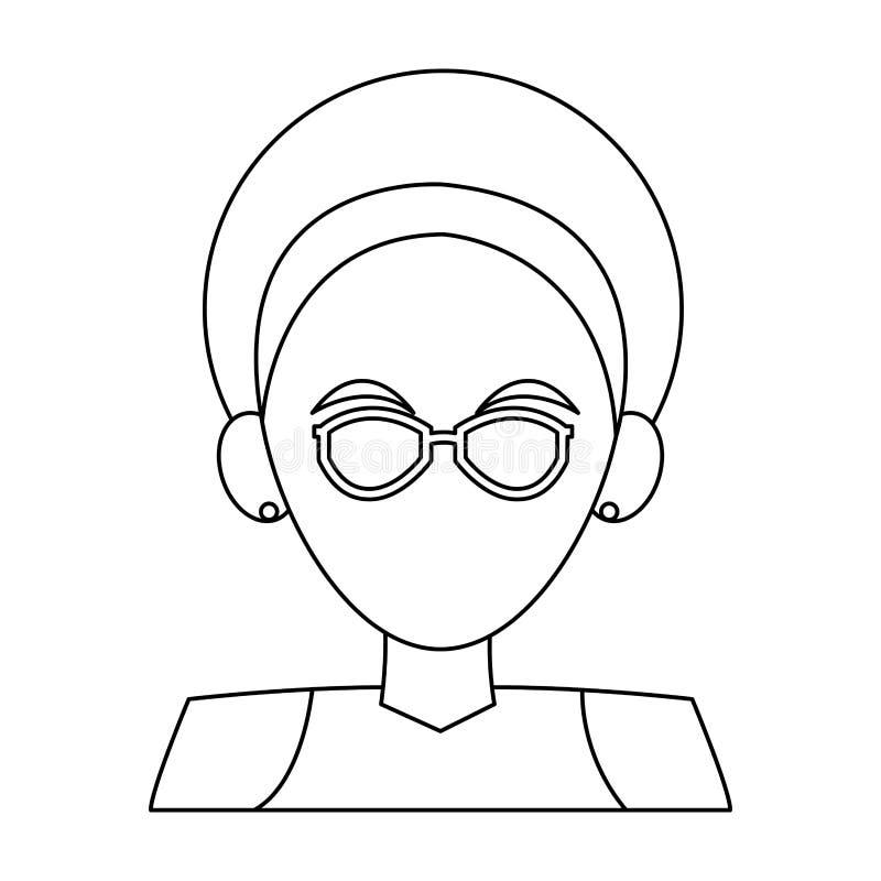 Fumetto anonimo della donna in bianco e nero illustrazione vettoriale